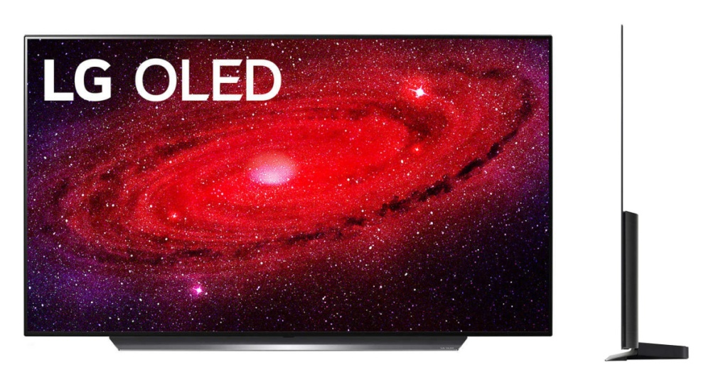 LG OLED tv front and side angle