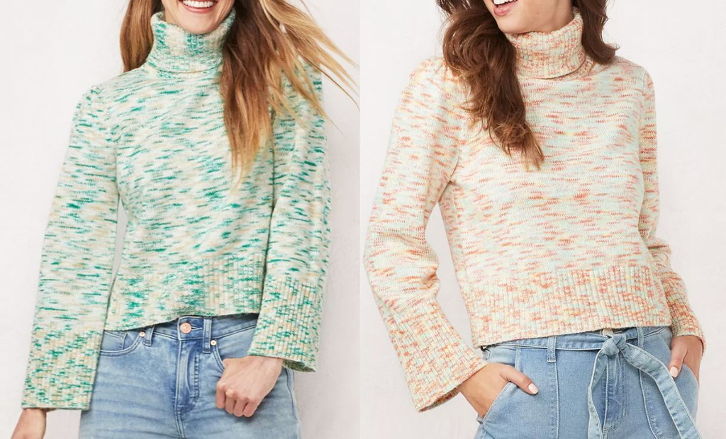 two women modeling turtleneck sweaters in green and light pink colors