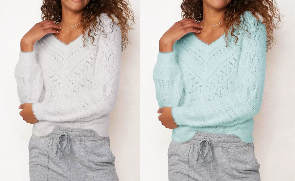 two women modeling fuzzy v-neck sweaters in light grey and light blue colors
