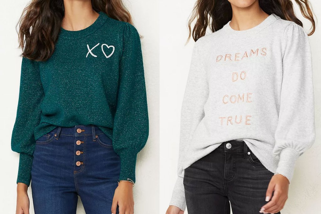 two women modeling graphic sweaters in green with white XO and light grey that says dreams do come true