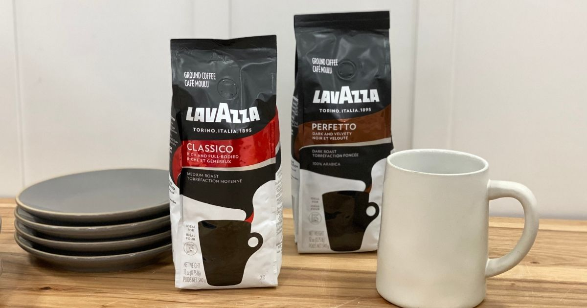 LavAzza Ground Coffee Packages with cups and plates