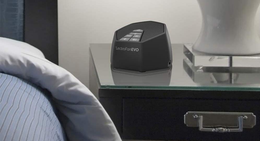LectroFan Evo Sound Machine on a nightstand