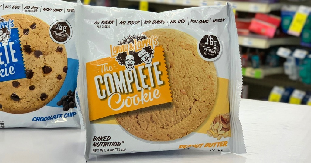 Lenny & Larry's The Complete Cookie Peanut Butter flavor on shelf