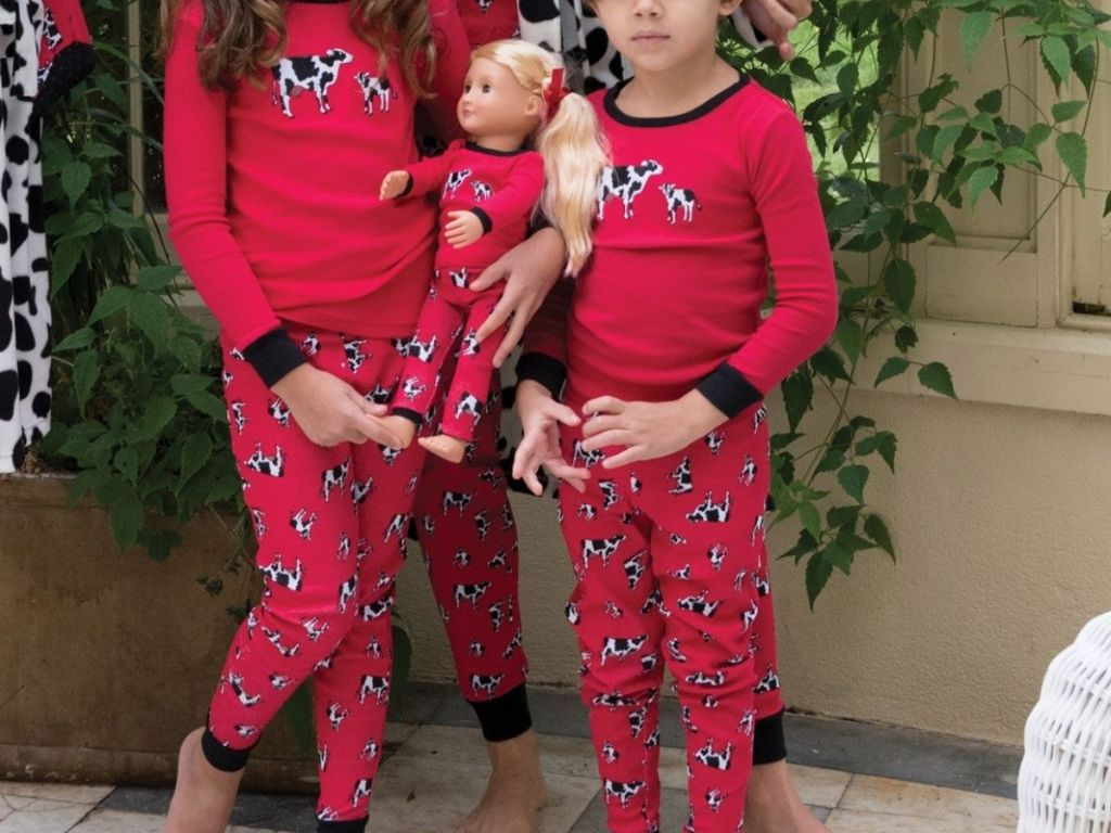 Leveret Little Girl and Boy wearing Matching Doll Pajama Set