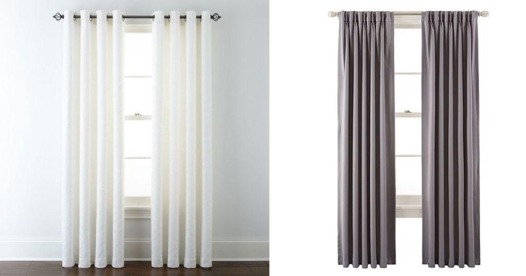 White Liz Claiborne & Gray JCP Home Curtains