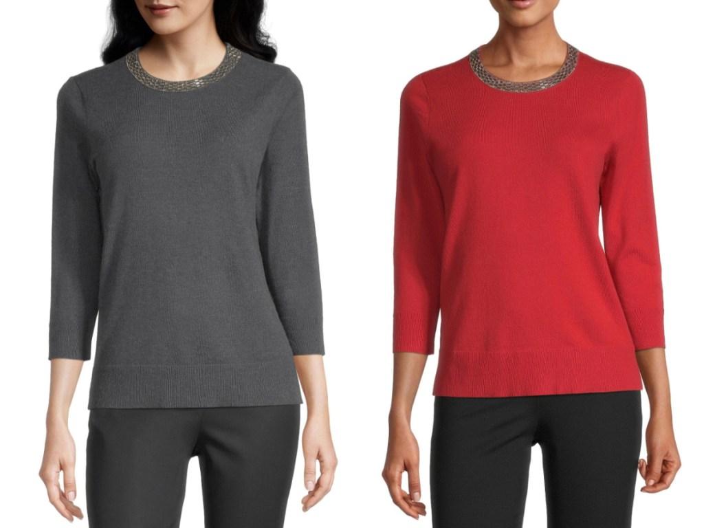 Liz Claiborne Womens Jewel Neck 3/4 Sleeve Pullover Sweater