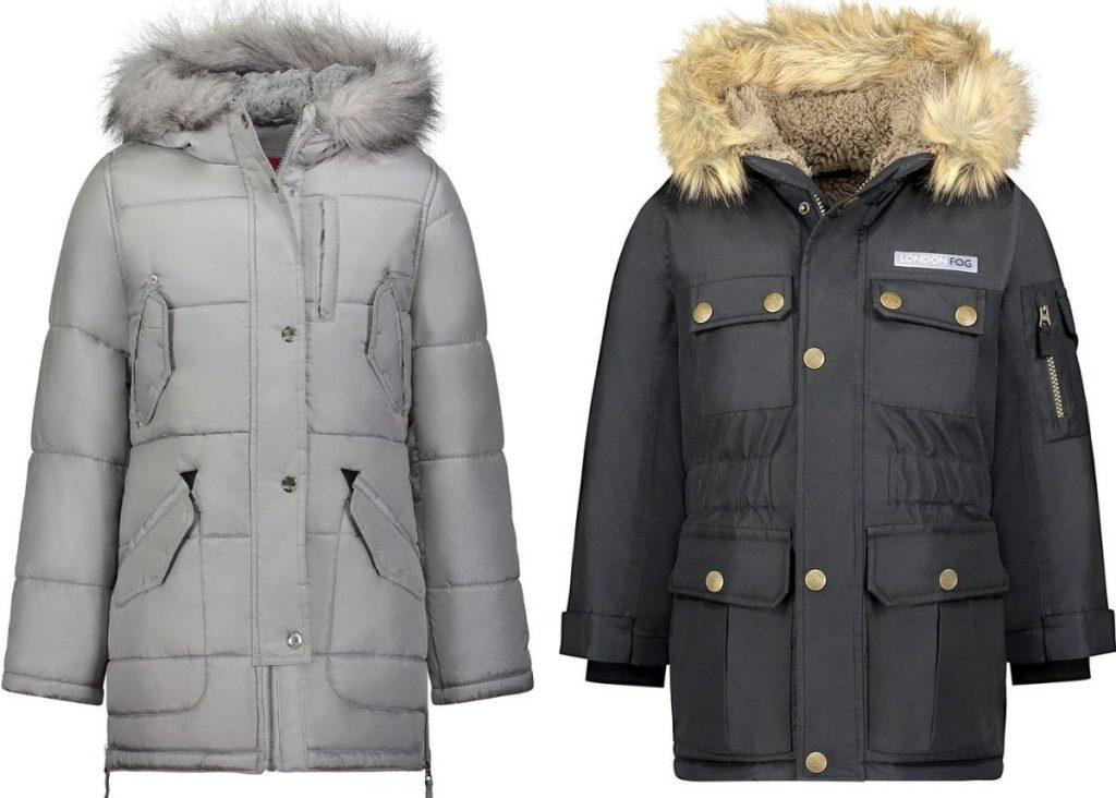 Two faux fur trim hooded parkas