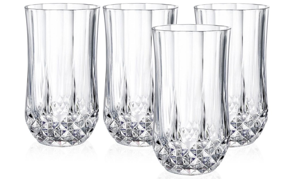 set of four crystal highball glasses