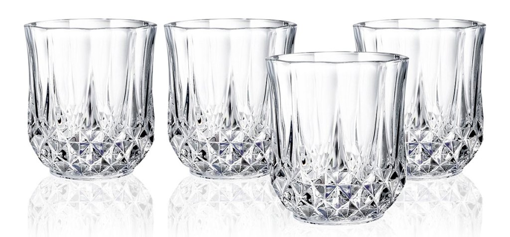 set of four crystal old fashion glasses