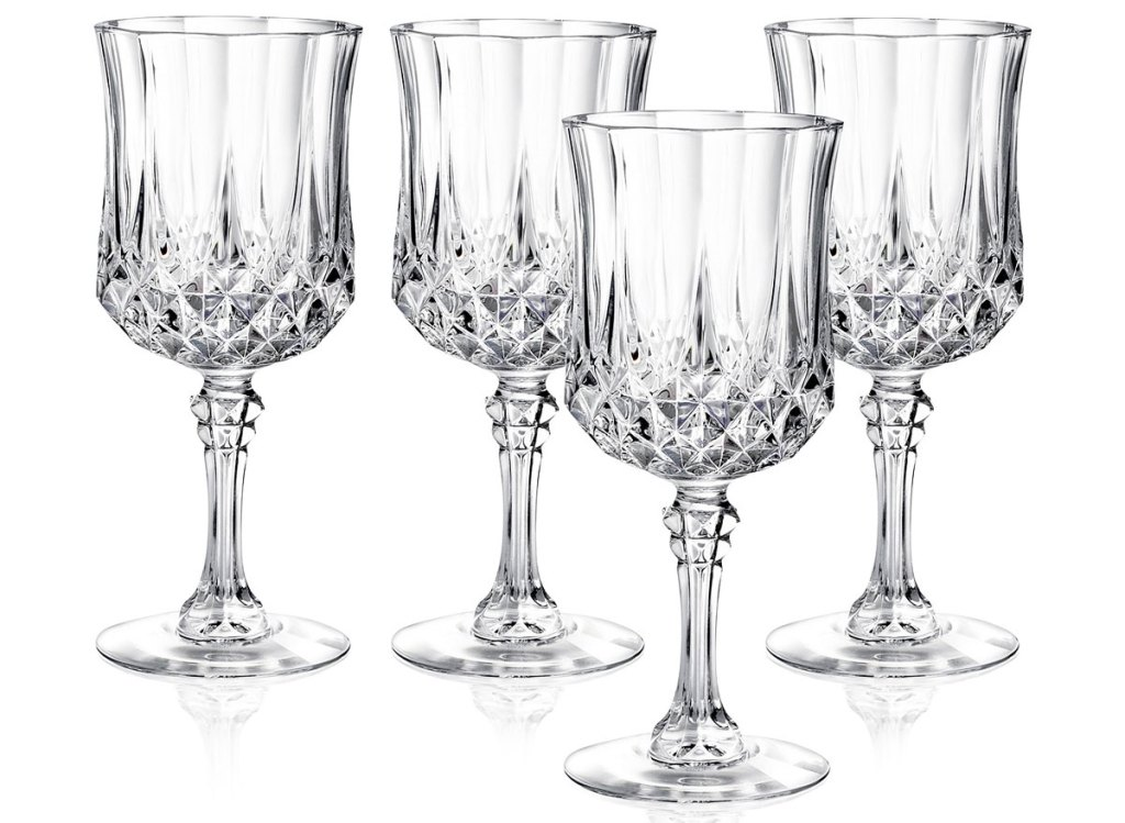 set of four crystal wine glasses