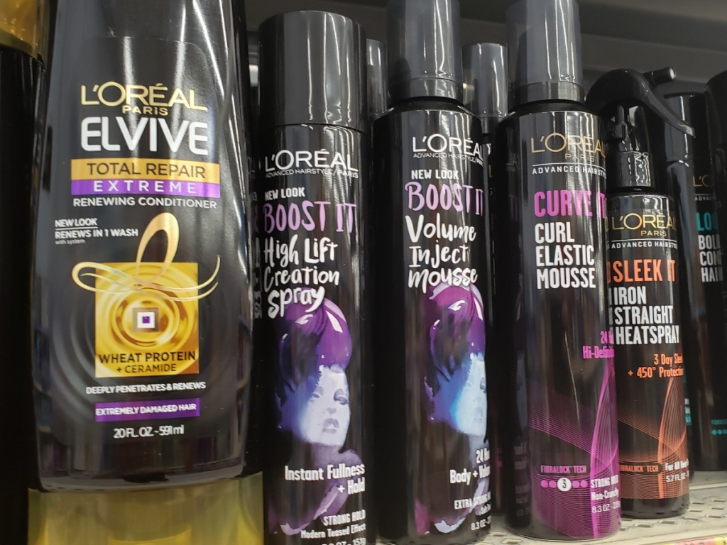 L'Oreal Volume Boost haircare products on a store shelf