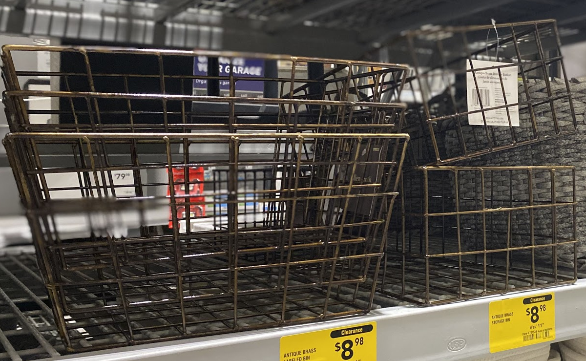 Metal baskets in stack on display in-store