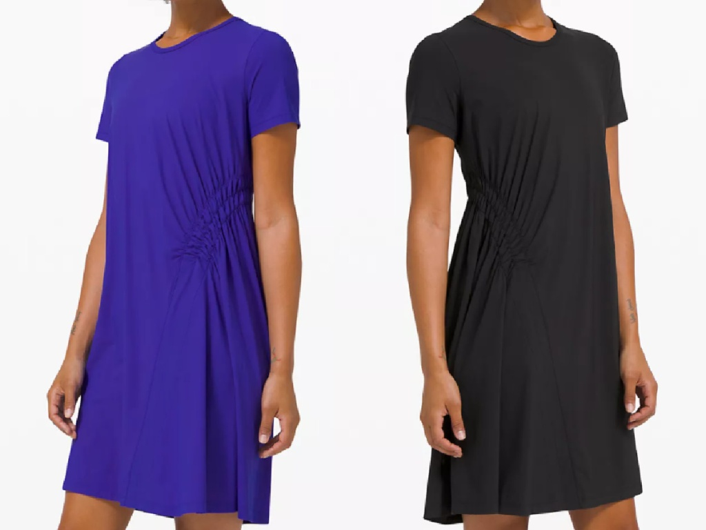 2 women wearing lululemon short sleeve dresses