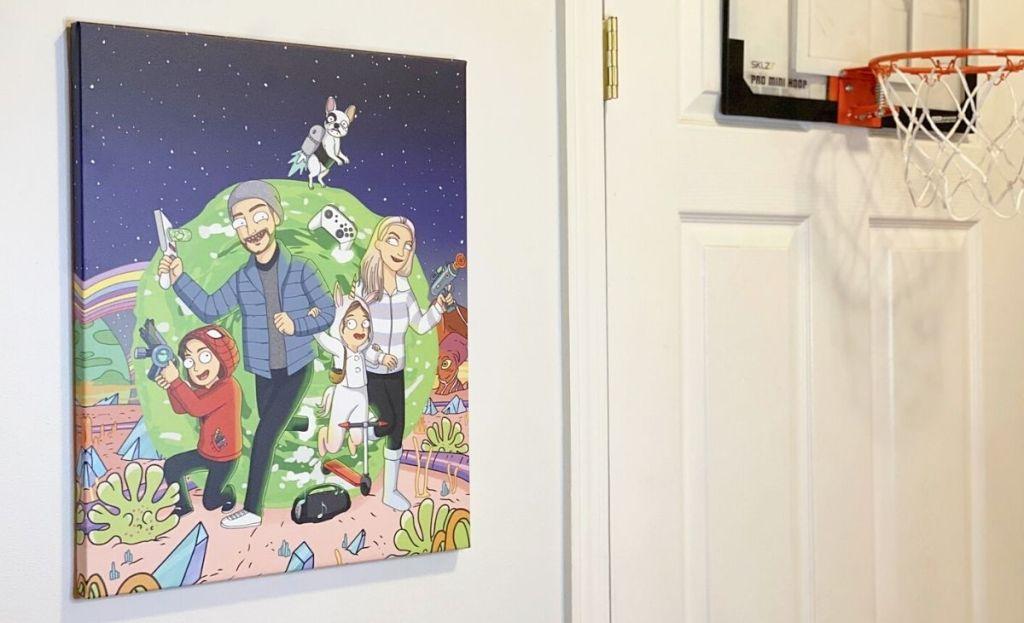 A custom family portrait on a wall