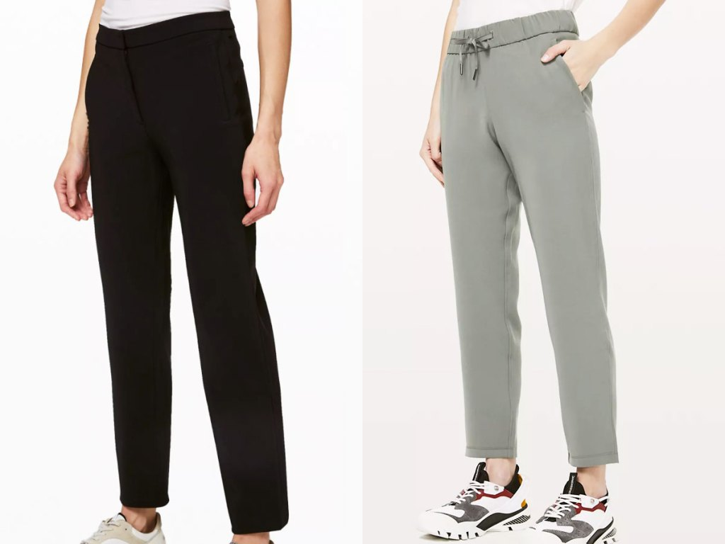 two women modeling pants in black and sage green colors