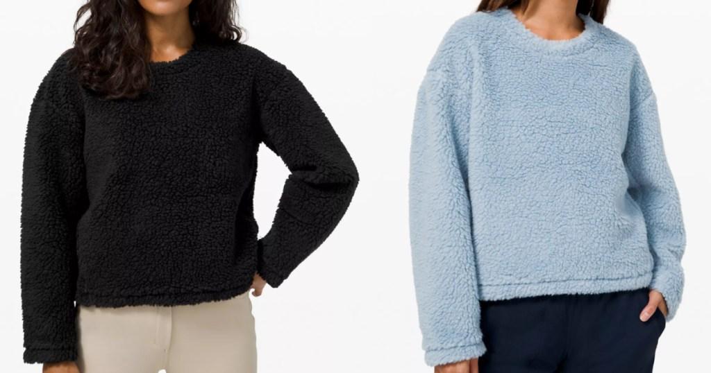 2 women wearing lululemon sherpa pullovers