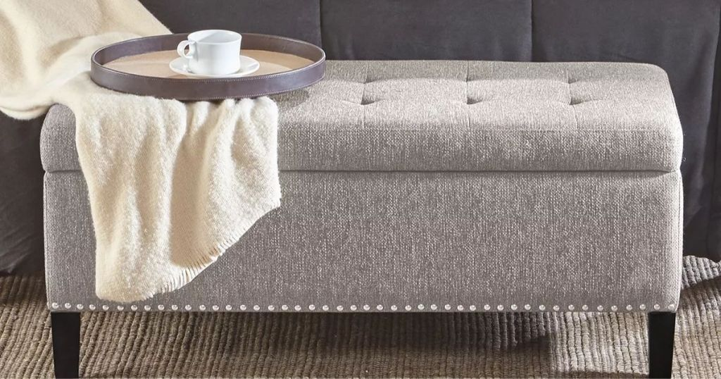 Madison Park Frances Storage Ottoman at end of bed with tray and blanket on it