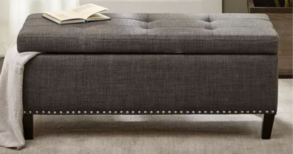 Madison Park Shandra II Storage Bench with blanket and book