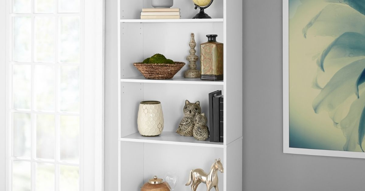 Mainstays five-Shelf Bookcase in a room with decor