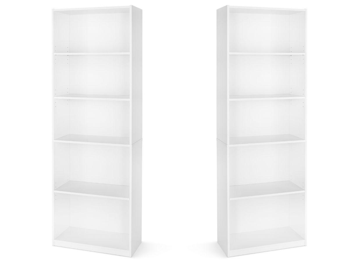 two stock images of tall white bookshelves