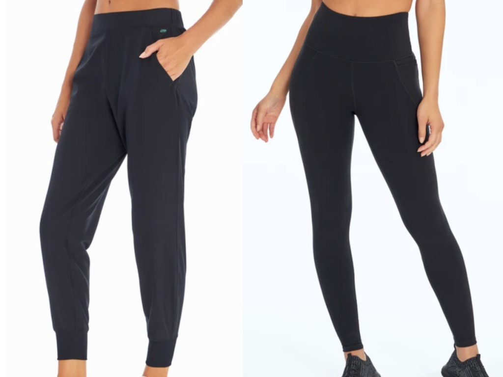 2 women wearing black marika athletic bottoms