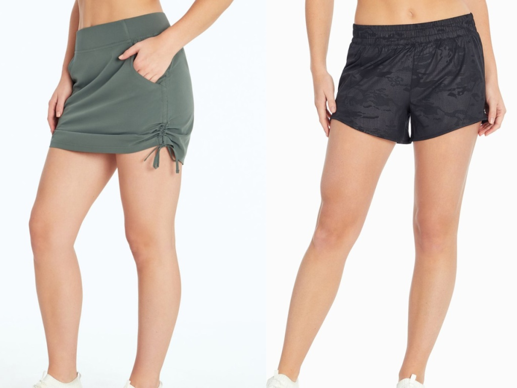 2 women wearing marika skort and shorts