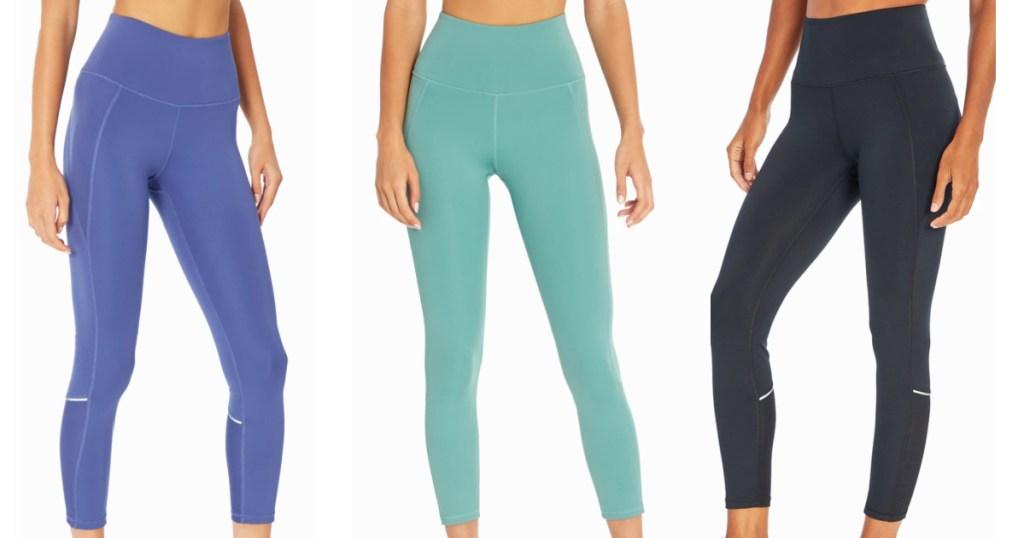 3 women wearing marika leggings