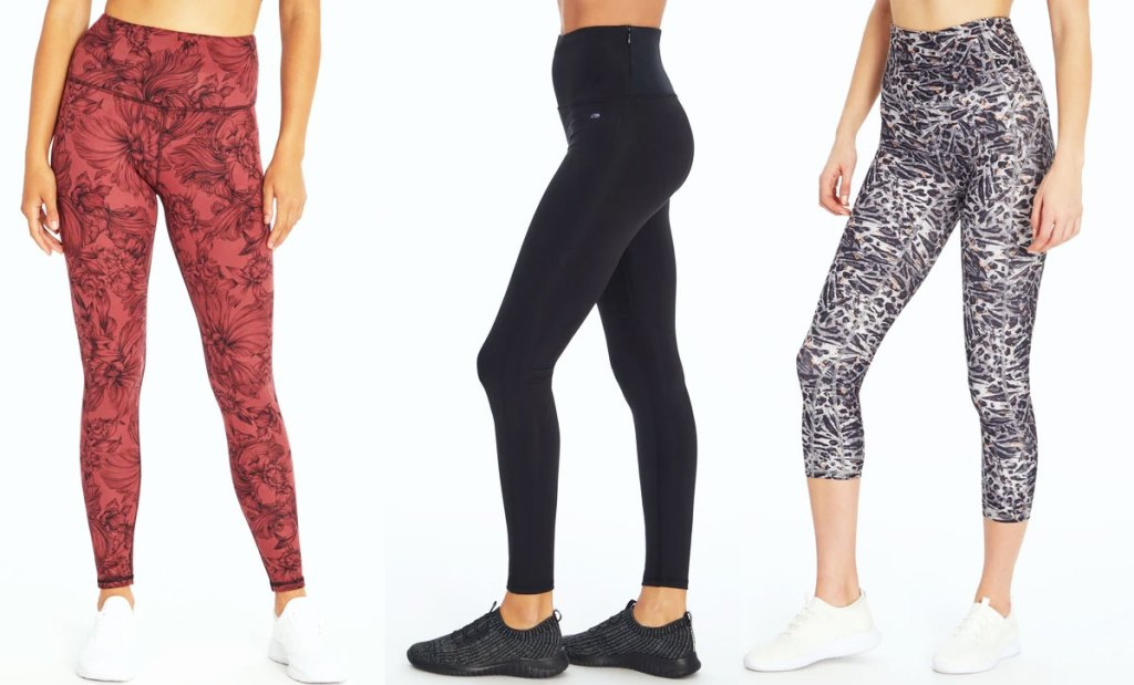three women modeling workout leggings in various colors and designs