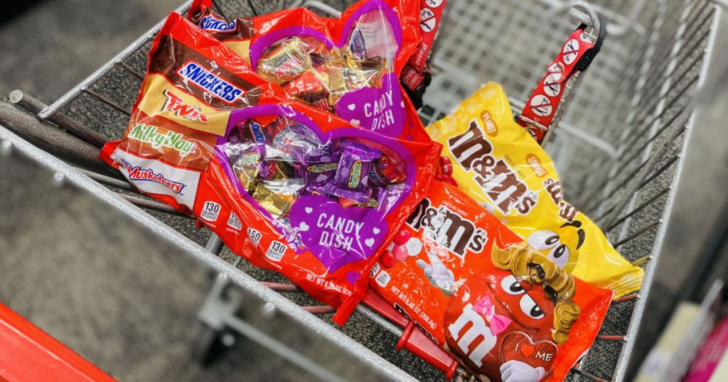various candy bags in basket