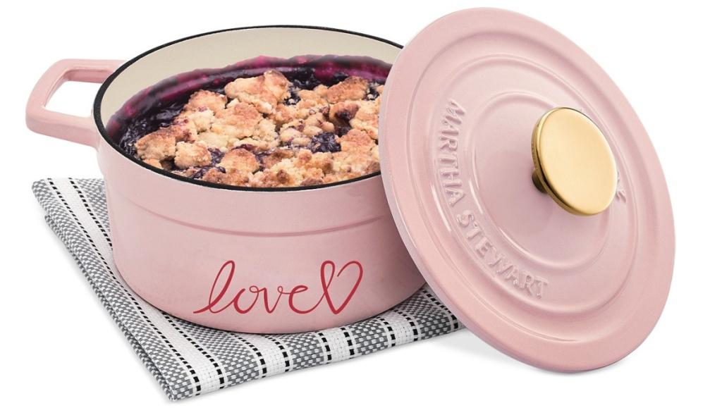 Small light pink casserole dish