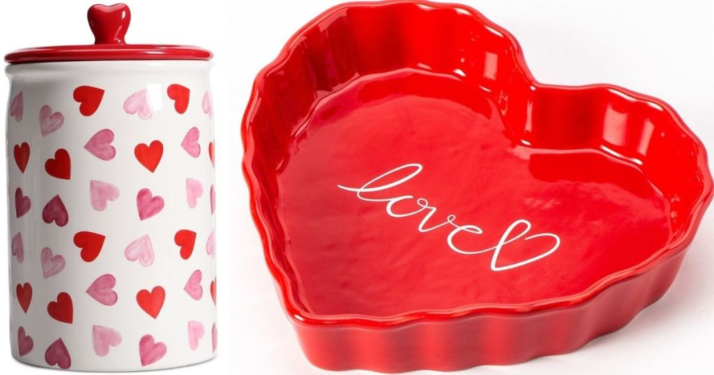 jar with hearts on it and a heart shaped pie dish