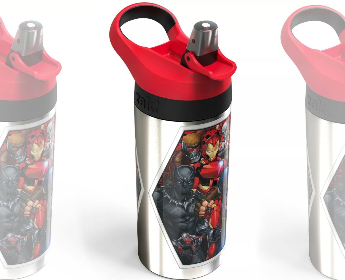 Side view of a Marvel Water Bottle