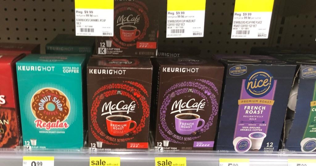 mccafe coffee k-cup pods on walgreens store shelf
