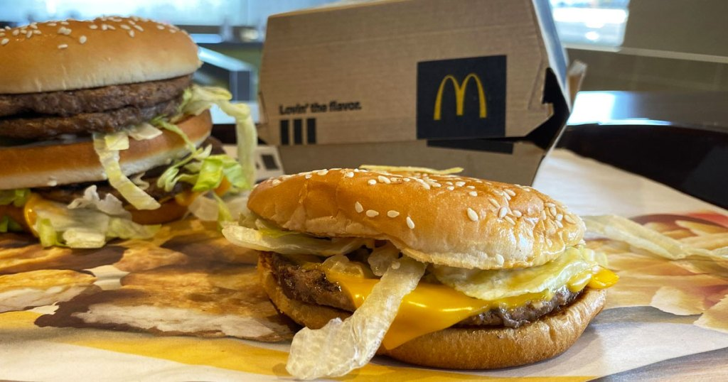 mcdonalds burger with box in background