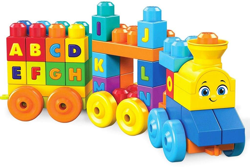 rainbow colored kids train toy