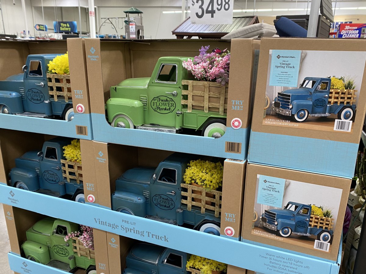 Spring themed truck on display in-store