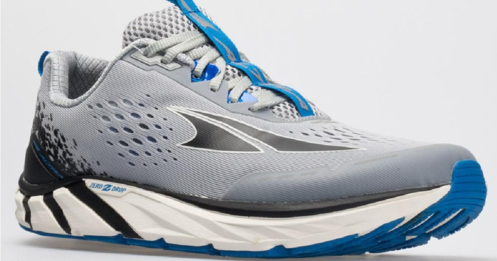 blue and gray sneakers