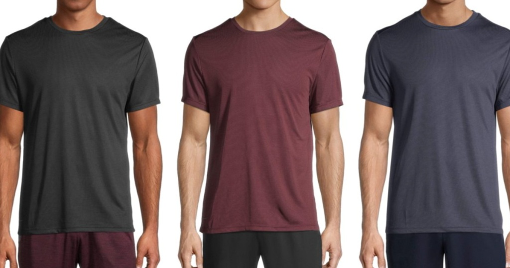 3 men standing next to each other wearing athletic tees