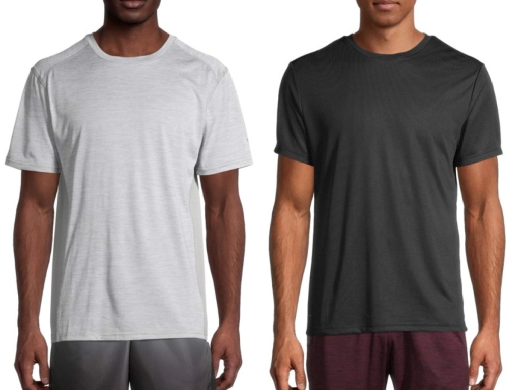 2 men standing next to each other wearing athletic tees