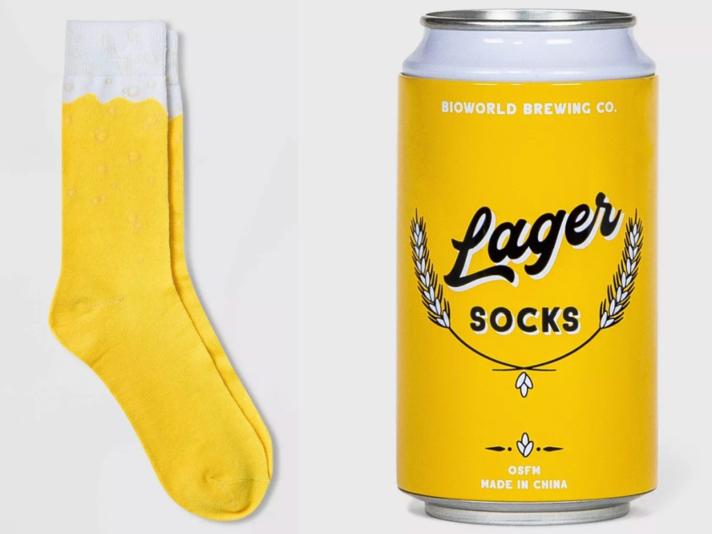 pair of mens socks with beer pattern in a beer can