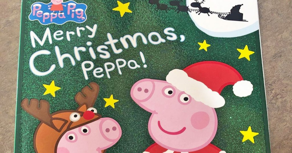 green sparkly cover of Merry Christmas, Peppa! paperback book