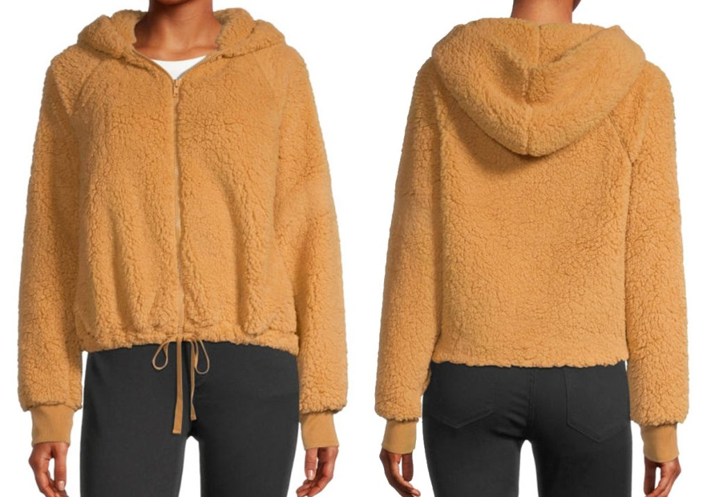 front and back view of a golden colored women's sherpa zip-up jakcet
