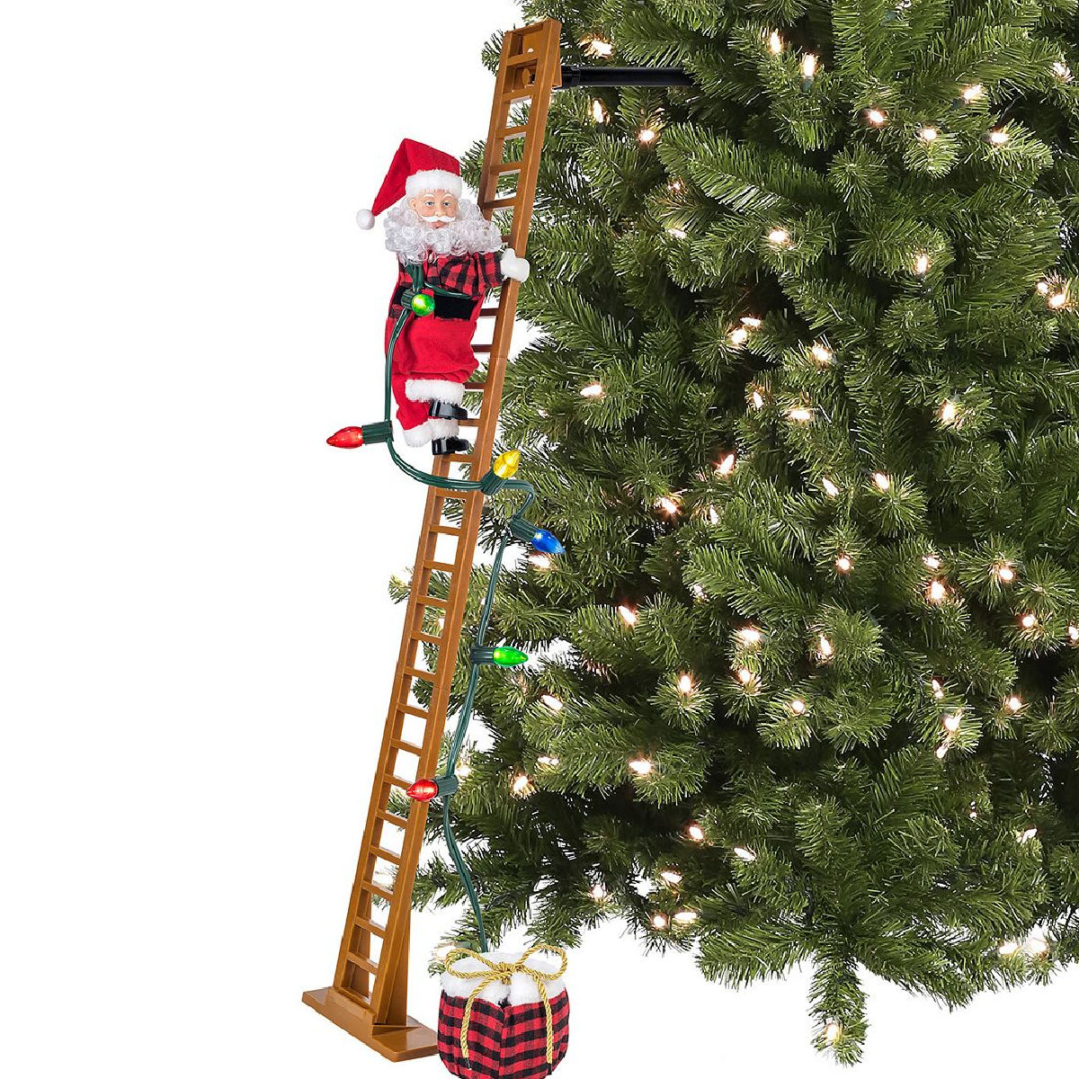 Mr. Christmas brand santa on climbing ladder