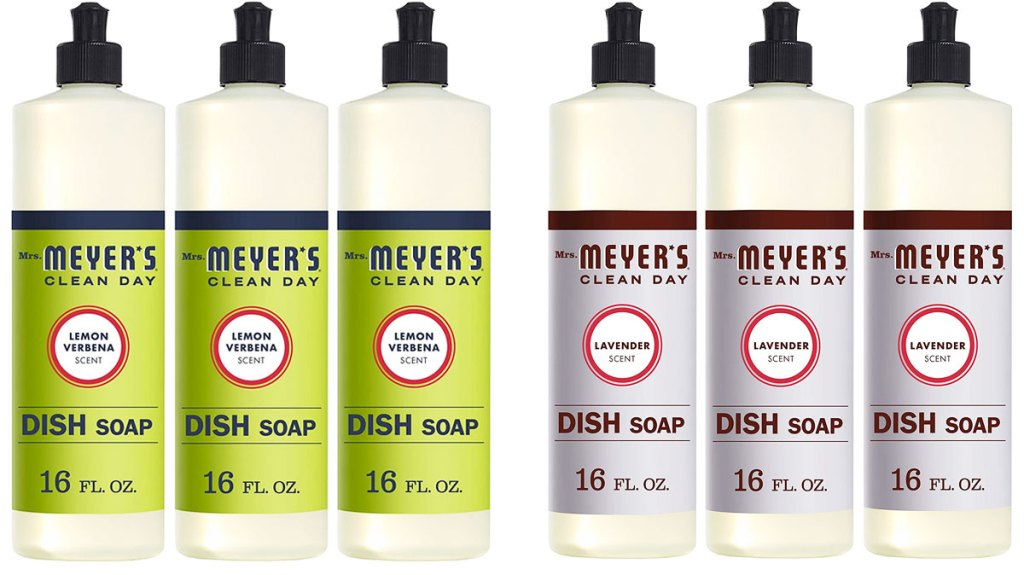 two 3-pack sets of mrs meyer's dish soap in lemon verbena and lavender scents