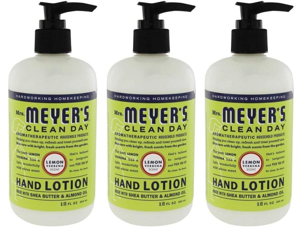 three bottles of hand lotion