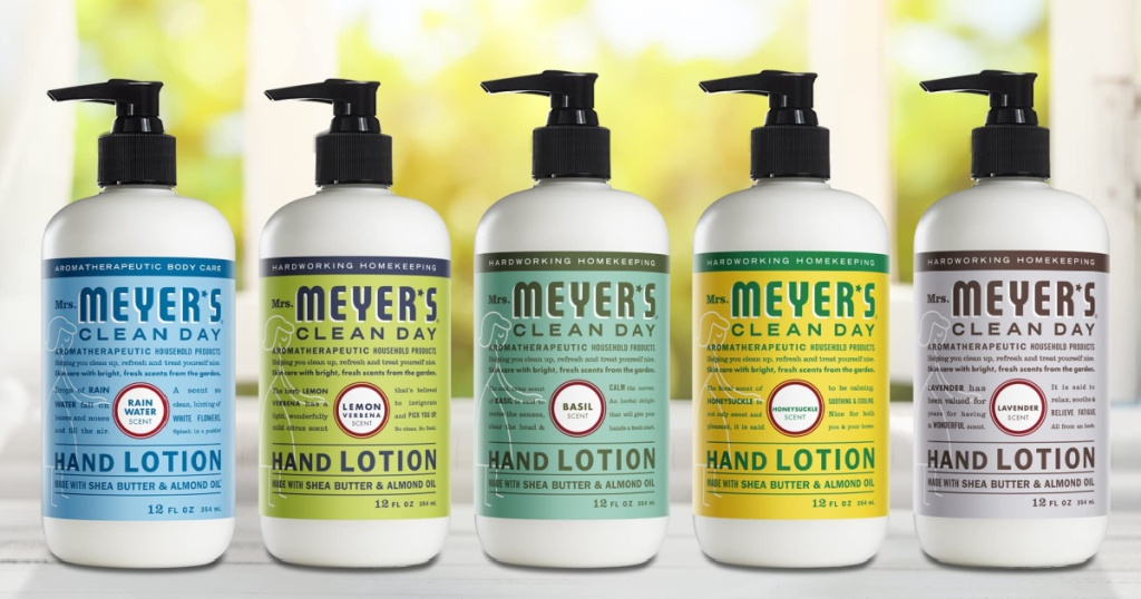 five bottles of hand lotion