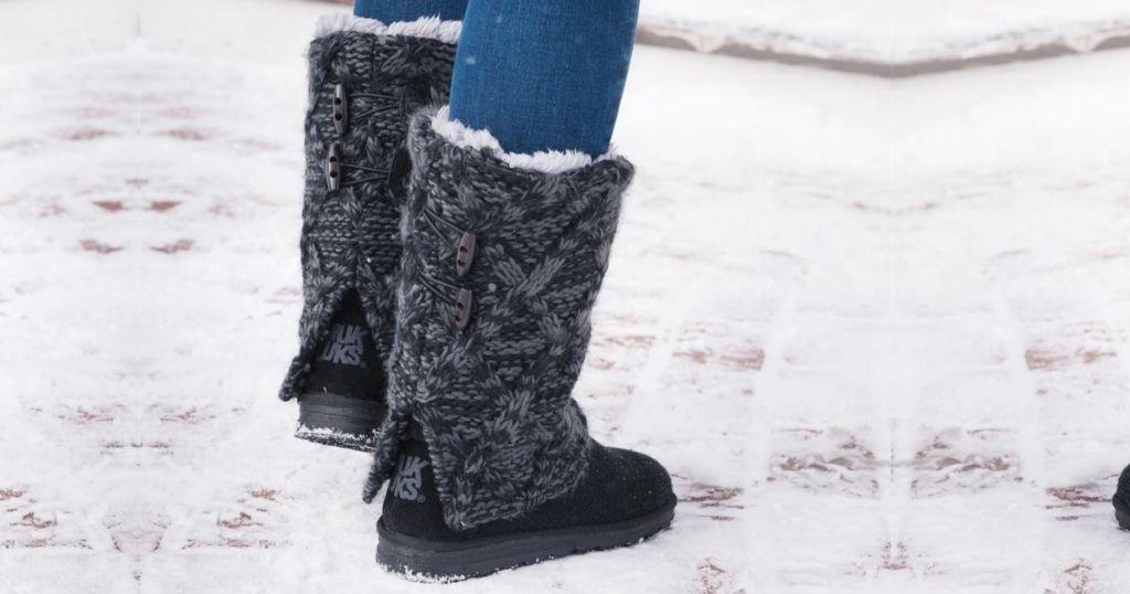 woman wearing Muk Luks Shawna boots