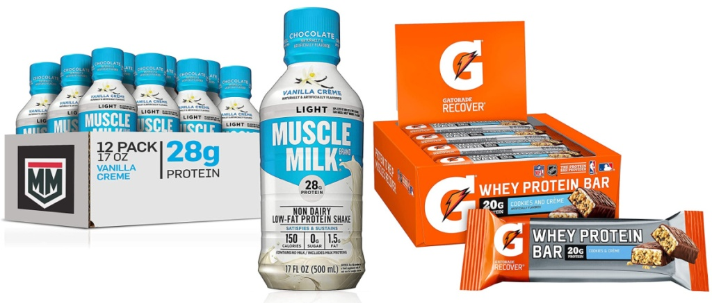 Muscle Milk Muscle Milk Light Vanilla Creme Protein Shakes 12-Count and Gatorade Whey Protein 12-Pack Cookies & Crème Bars
