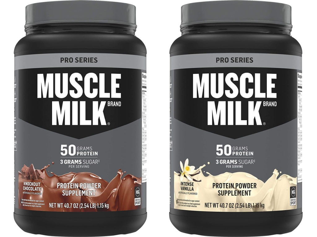 Muscle Milk Pro Series Protein Powder in Knockout Chocolate and Intense Vanilla 2.54 Pound Jar