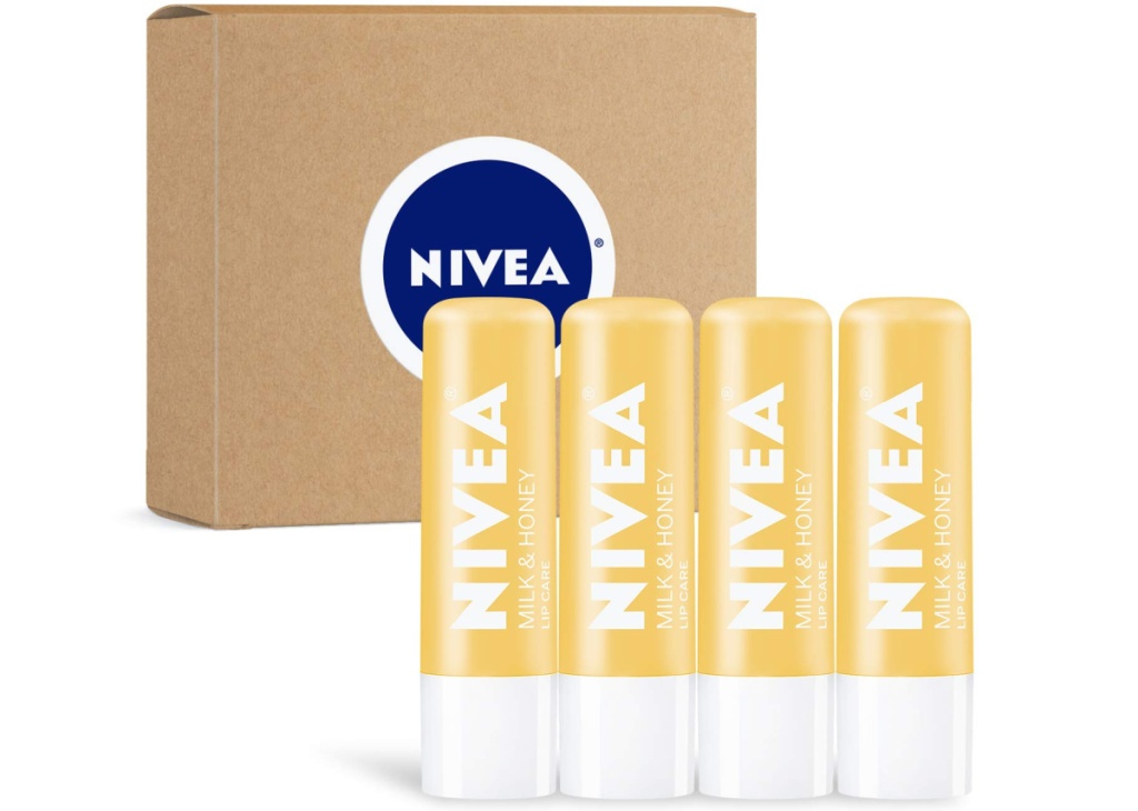 NIVEA brand lip balm four count near package